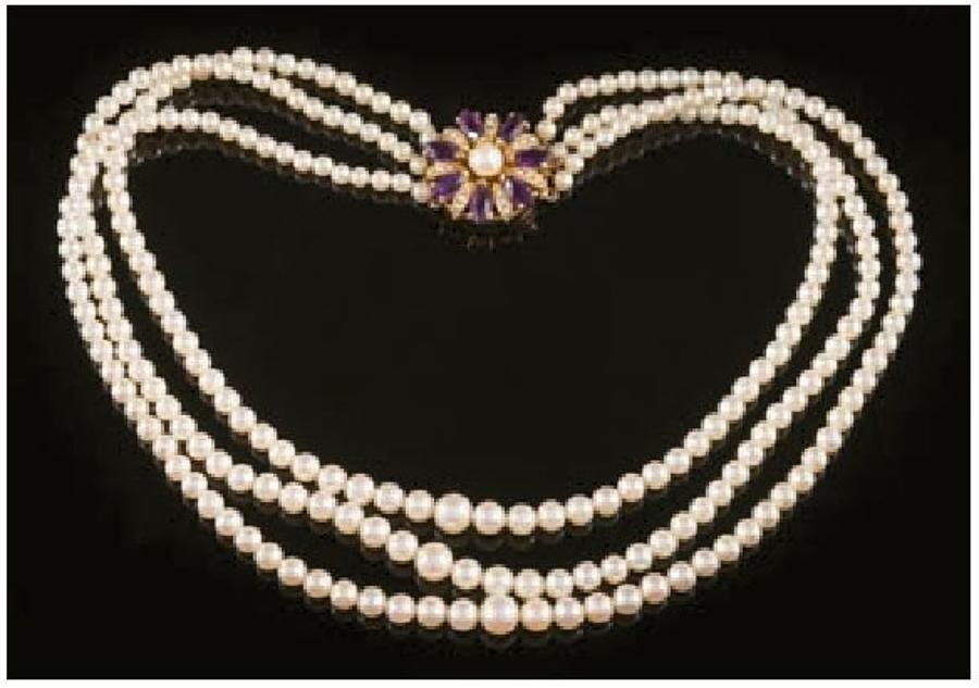 A Cultured Three-Strand Pearl Necklace