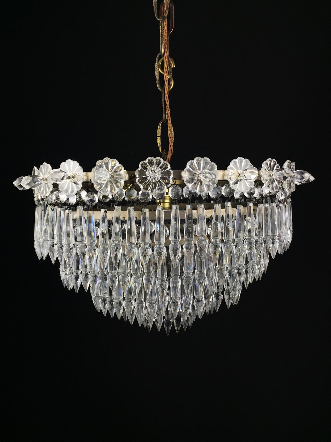 A glass icicle hanging light