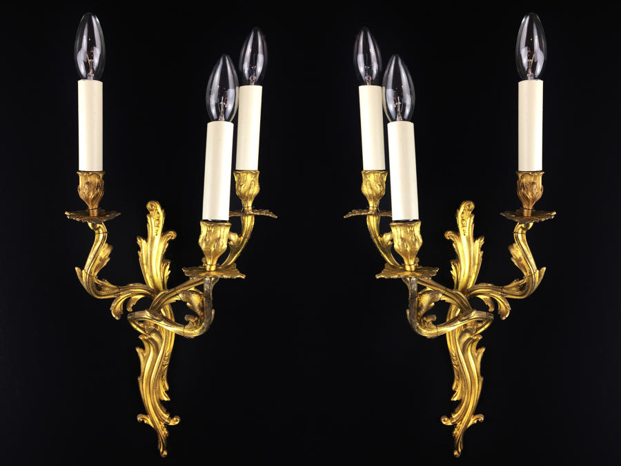 Pair of three arm, Louis XV style wall lights