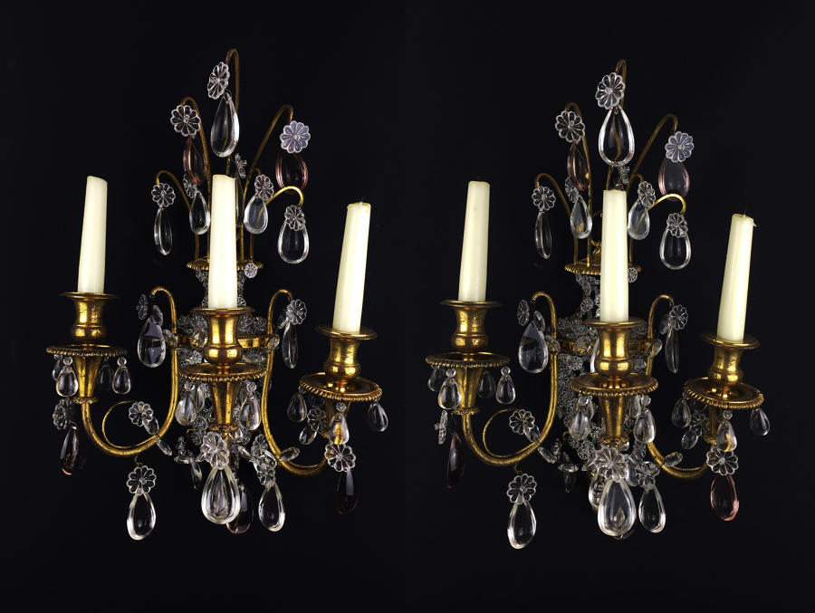 A Pair of Floral Basket Wall Lights
