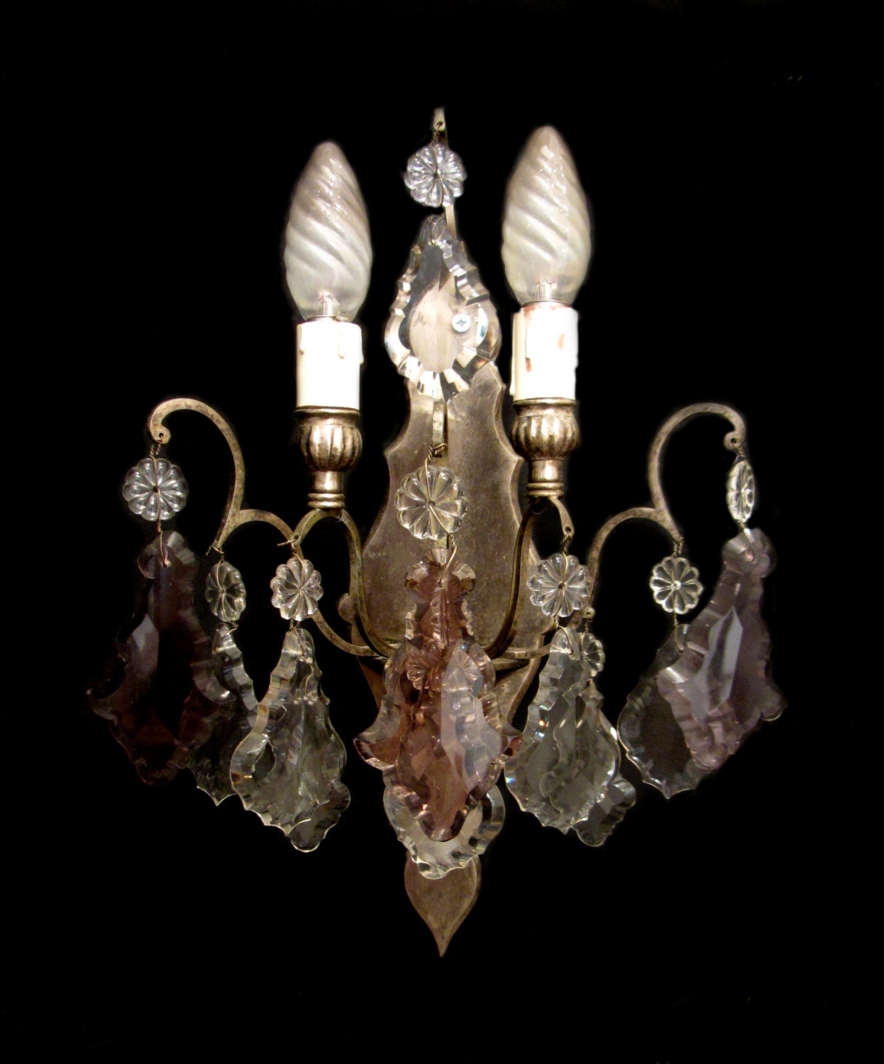 A single silver and crystal wall light