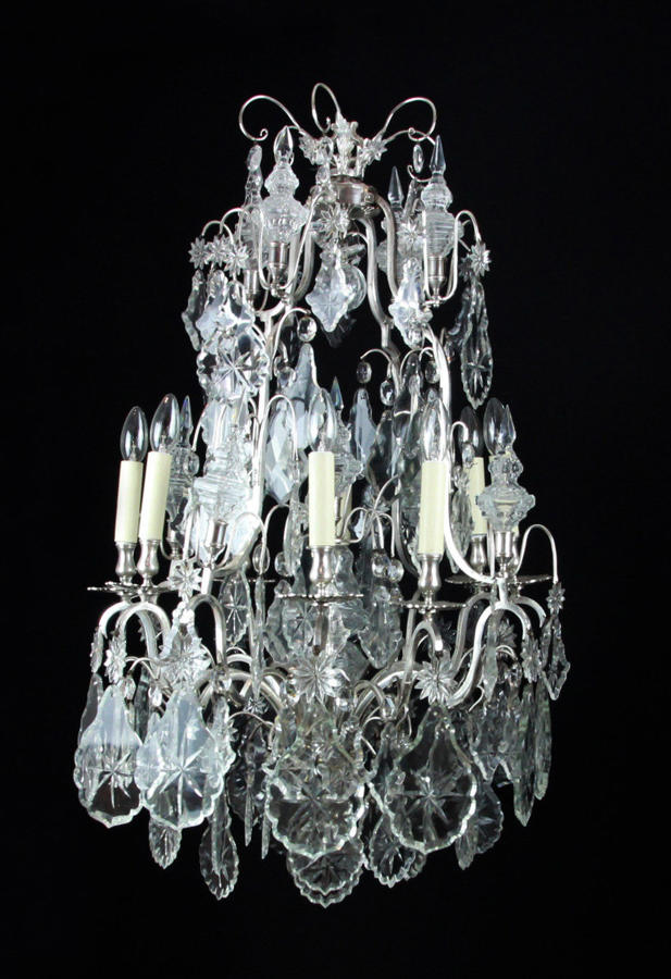 A Silvered Bronze Cage Chandelier