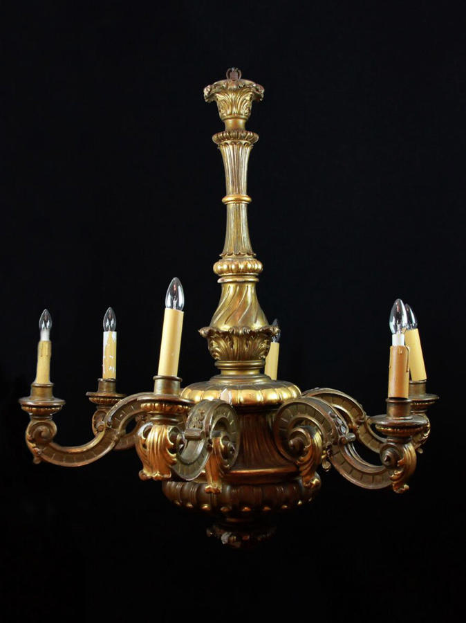 A Large Carved French Chandelier