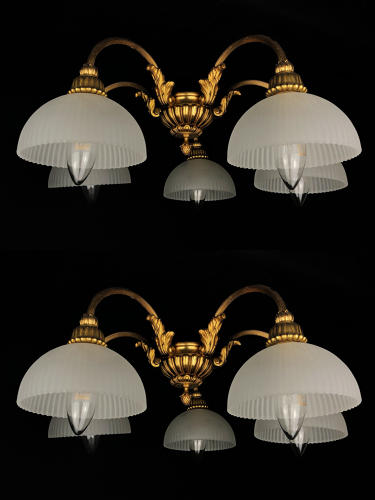 A pair of gilt brass ceiling lights