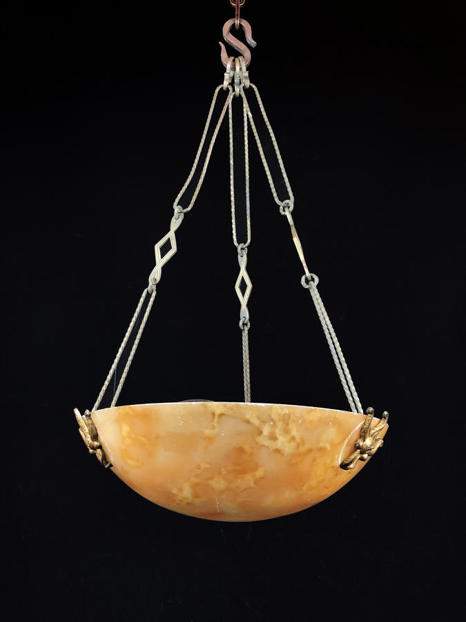 An alabaster hanging light