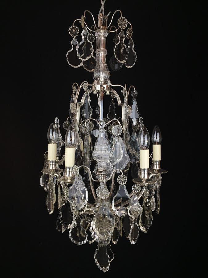 A French, silvered  brass six arm chandelier