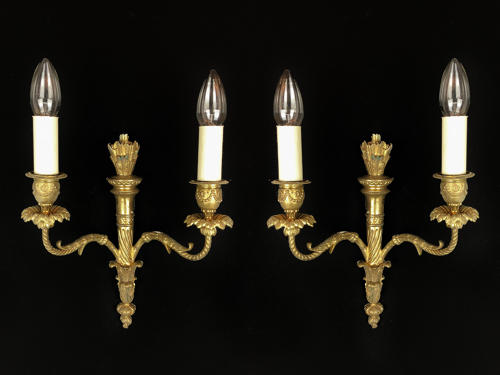 A set of 3 Louis XVI style wall lights
