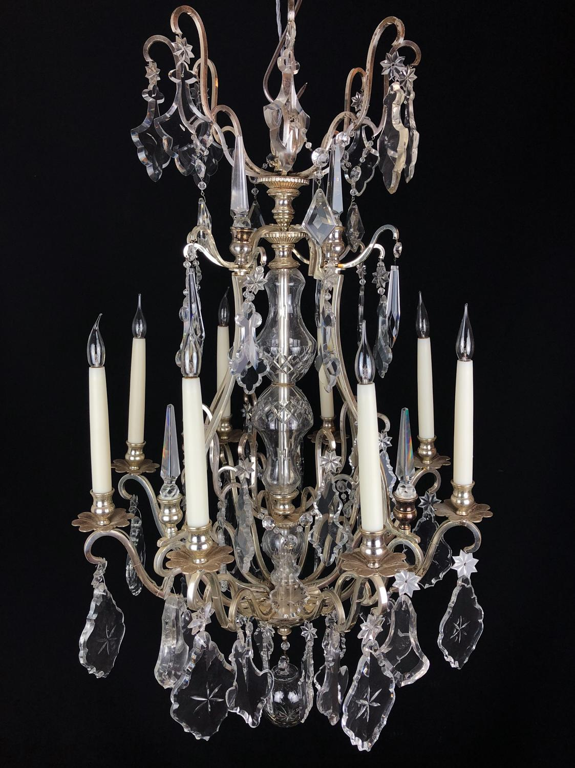 A silvered French chandelier