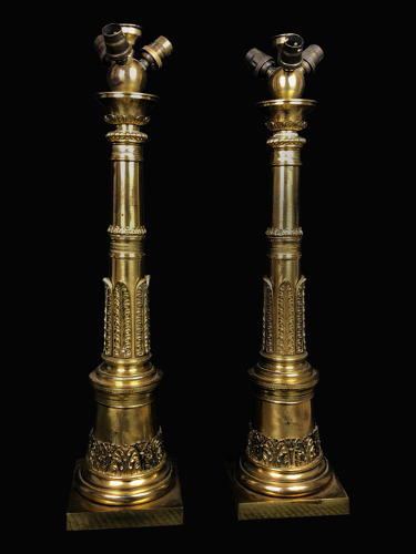 A pair of gilt brass neoclassical column lamps