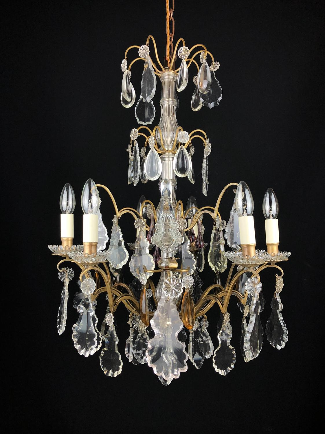 A small, gilt-brass and cut glass chandelier