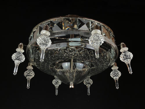 A large and unusual cut glass plafonnier
