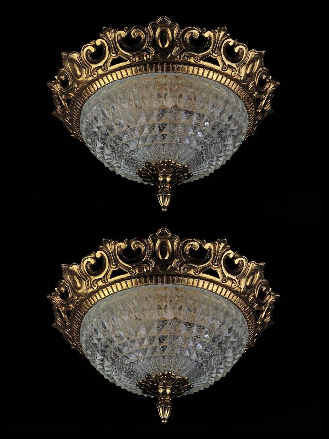 A set of five cut glass ceiling lights