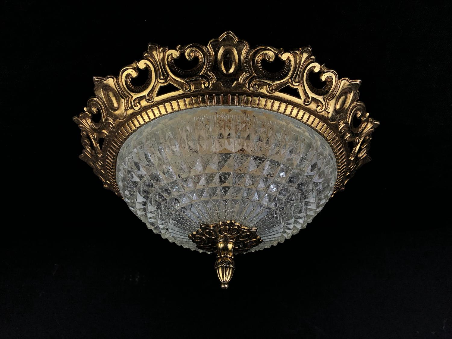A set of five cut glass ceiling lights