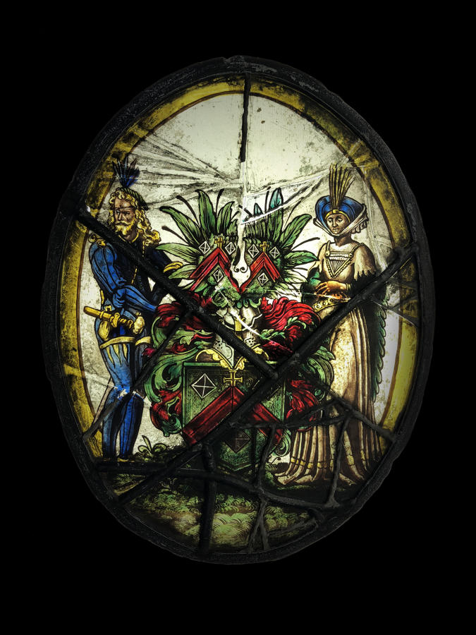 Armorial Oval Stained Glass Window