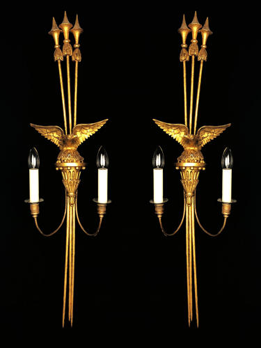 A Large Pair of Gilt-wood Regency Wall Lights