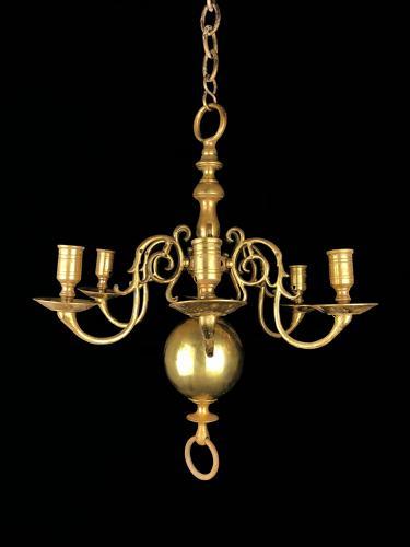 A dutch brass ball chandelier