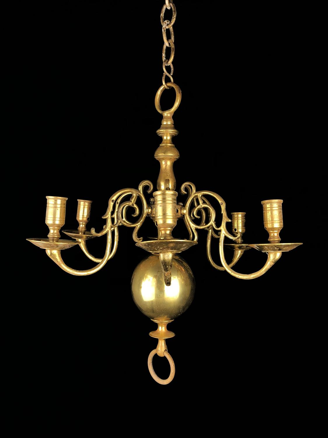 A dutch brass ball chandelier