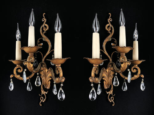 A pair of Louis XV style wall sconces
