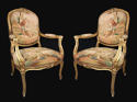 A pair of gilt-wood and Beauvais / Aubusson tapestry chairs - picture 1