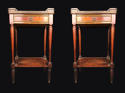 A pair of mahogany marble topped bedside cabinets - picture 1