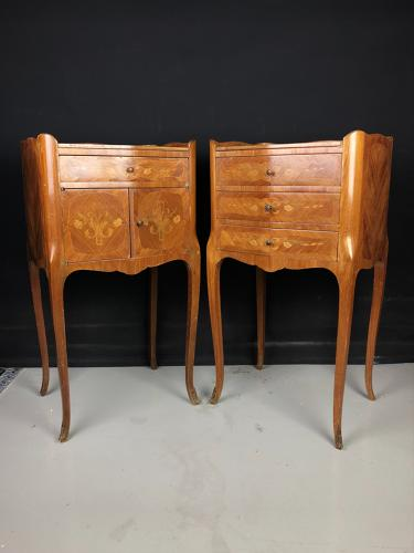 A matched pair of marquetry bedside cabinets