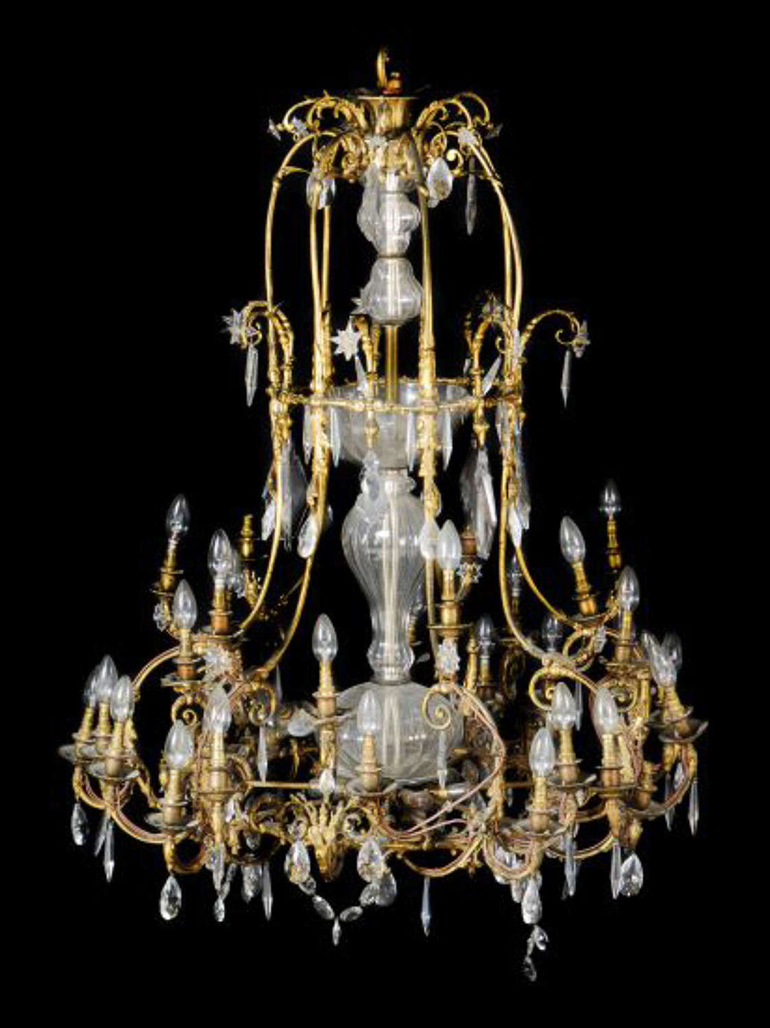 A large and unusual gilt bronze and crystal chandelier