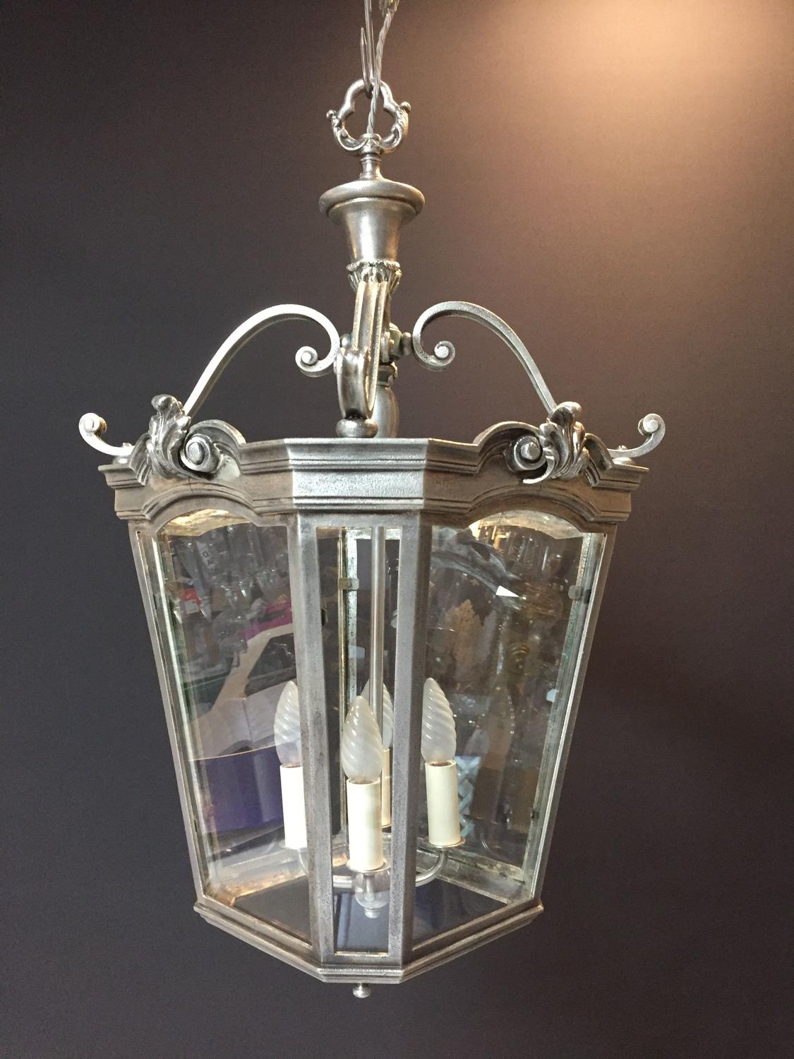 A Georgian Style Silvered Bronze hall lantern