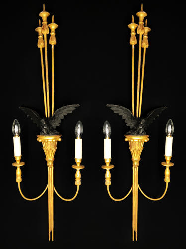 Pair of Empire style gilt-wood wall lights