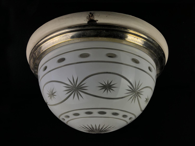 A Bohemian cut glass overlay plafonnier