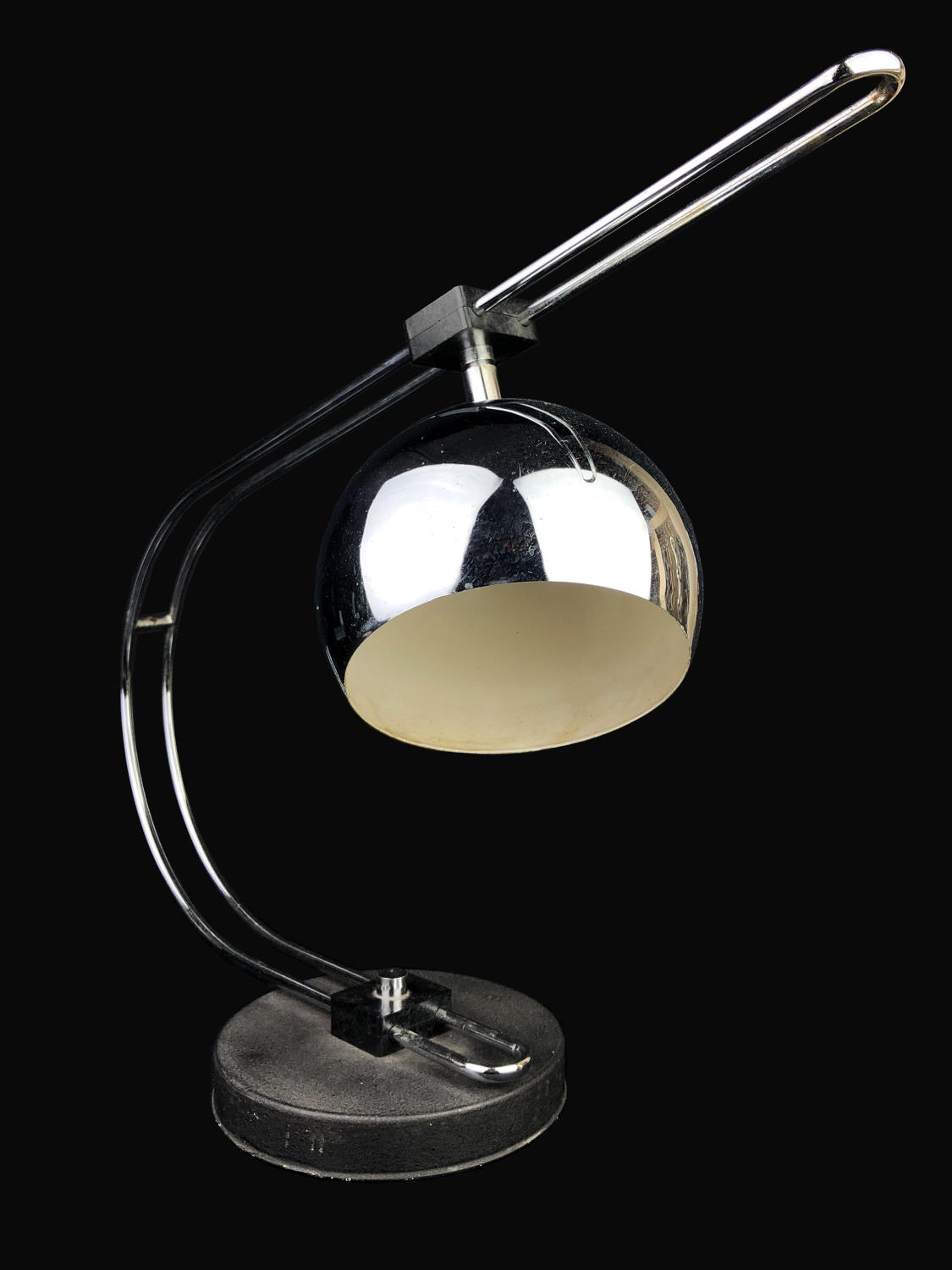 A vintage chrome table lamp