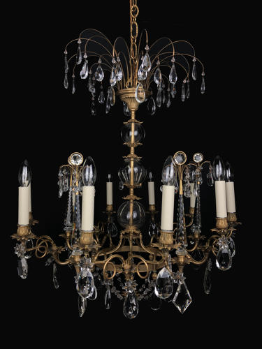 An unusual Russian gilt and crystal chandelier