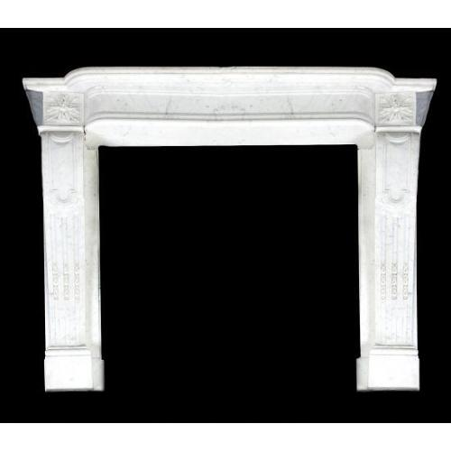 A variegated white marble chimneypiece