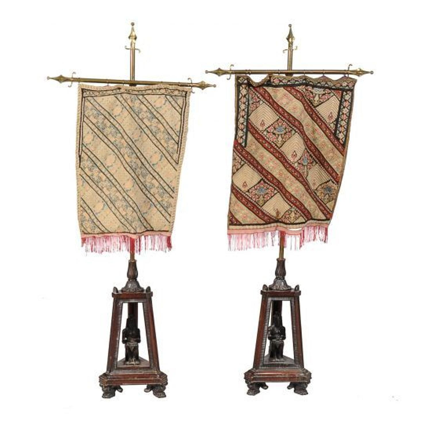 A pair of pole screens (Egyptian revival)