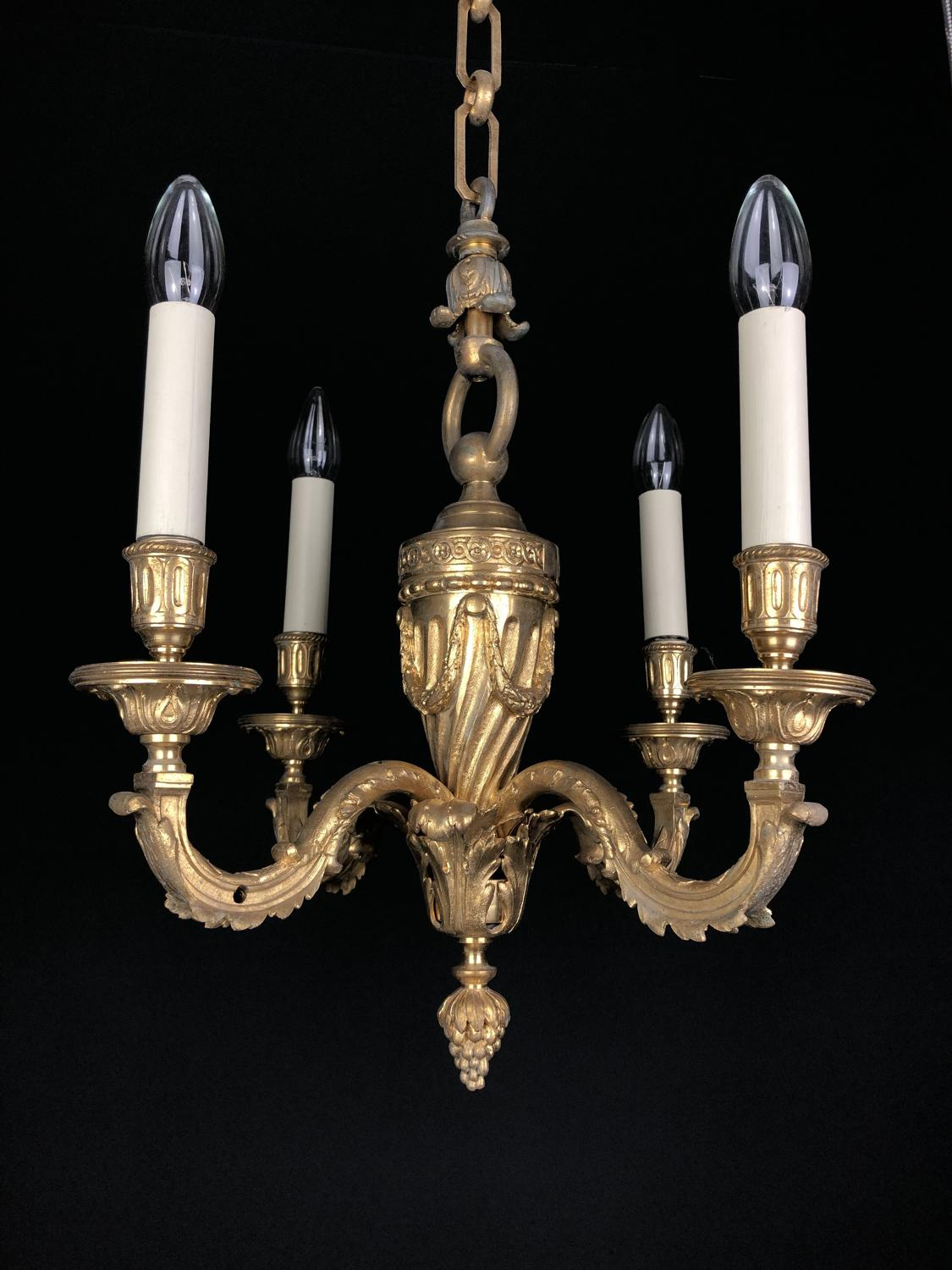 A gilt-bronze Louis XV style chandelier