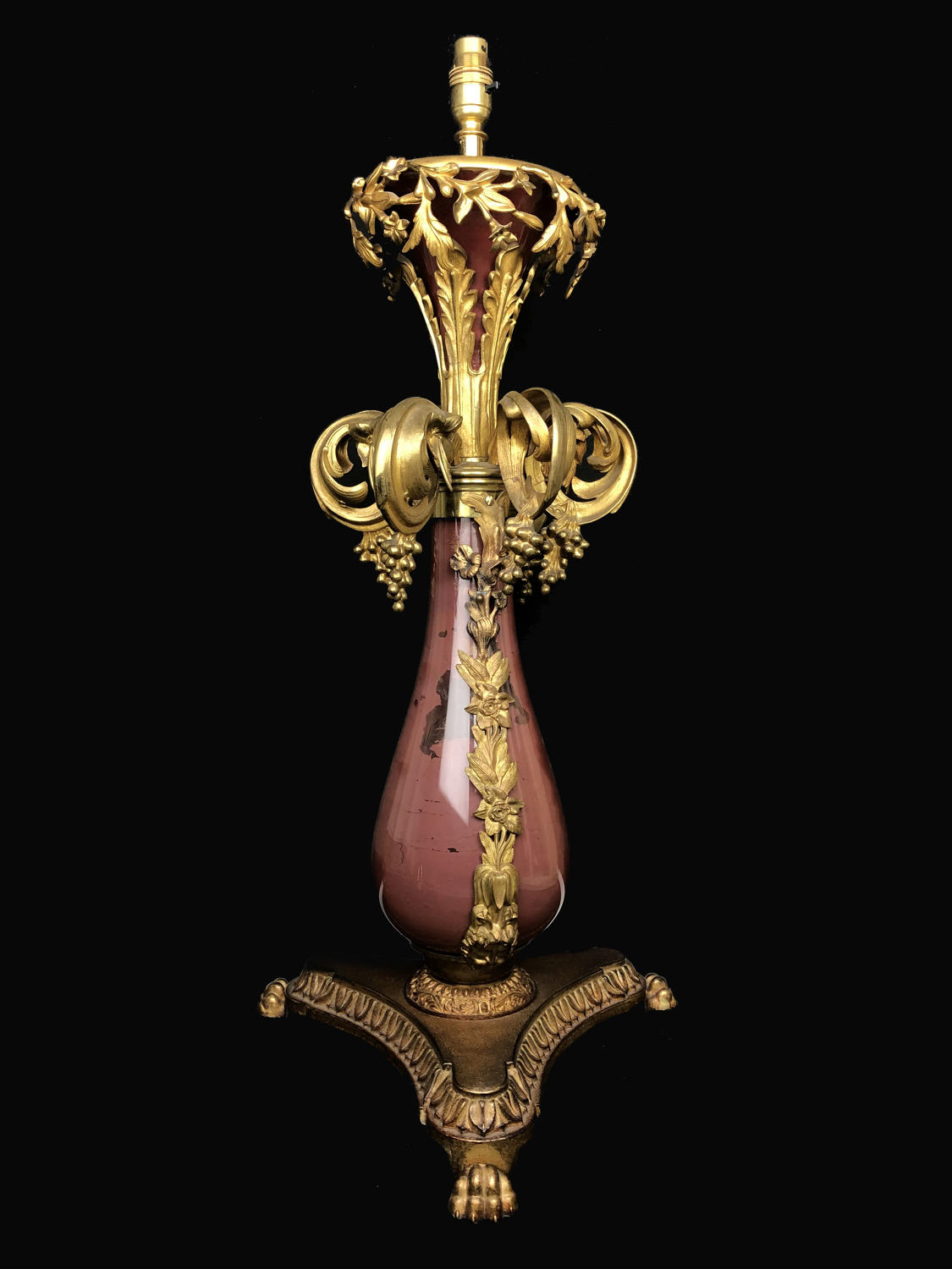 A William IV baluster oil lamp base