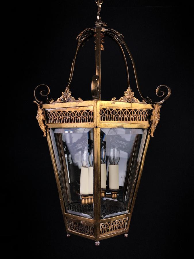 A gilt-brass hexagonal lantern