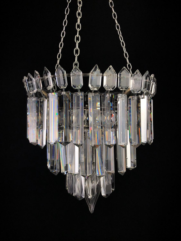 An unusual cut glass hanging light