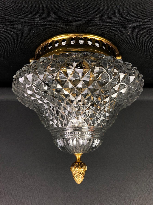 A hobnail cut glass ceiling light