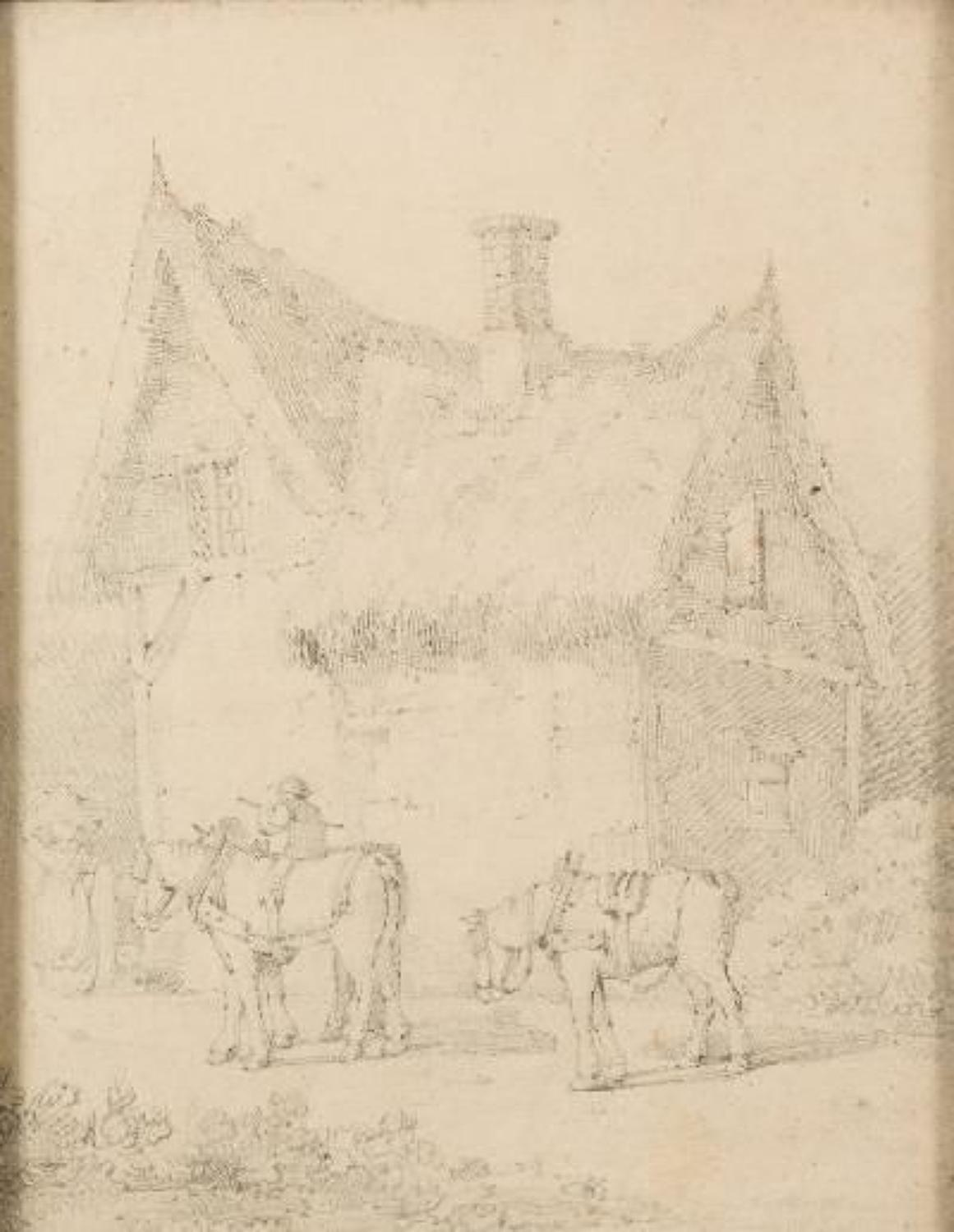A pencil drawing of a farm