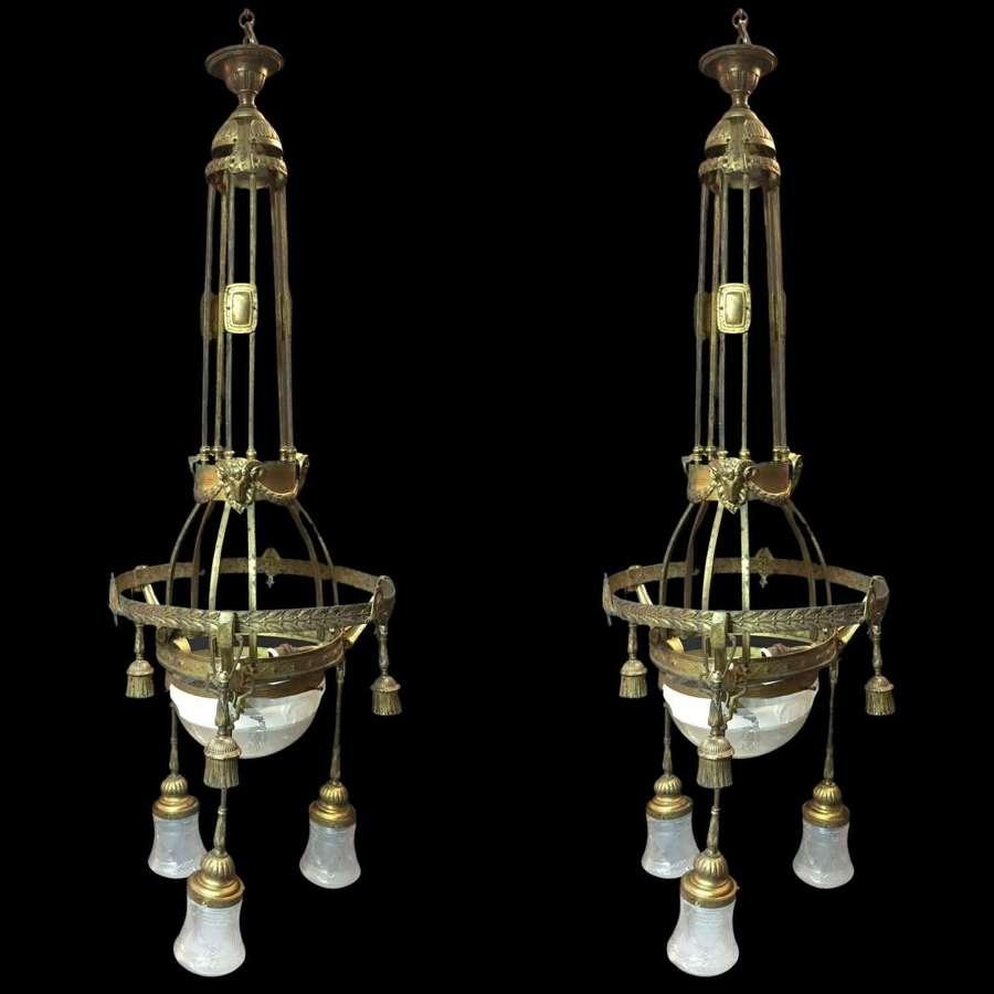 A large pair of Art nouveau pendant lights