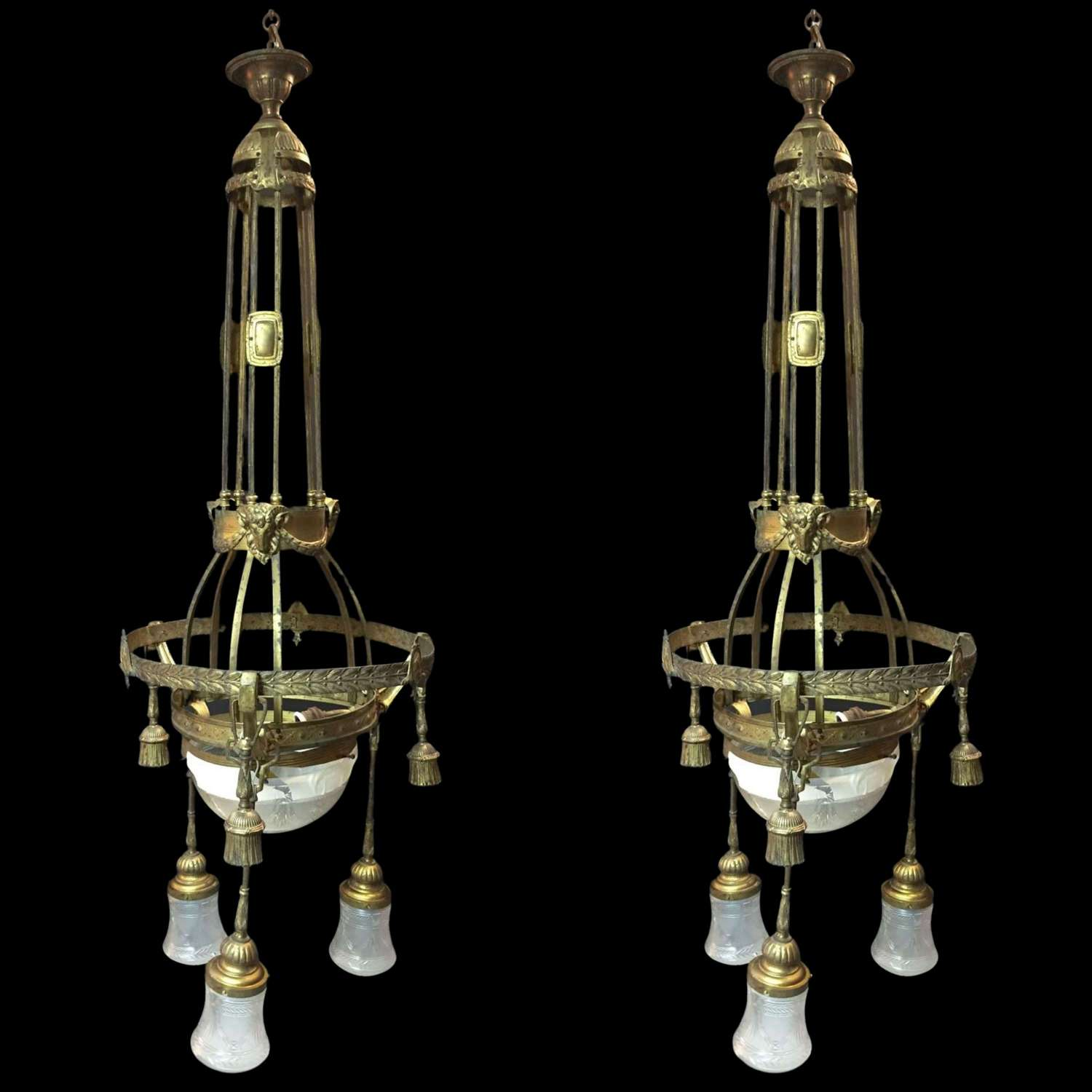 A large pair of Art nouveau pendant lights