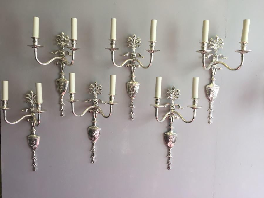 Six silvered Louis XVI style wall lights