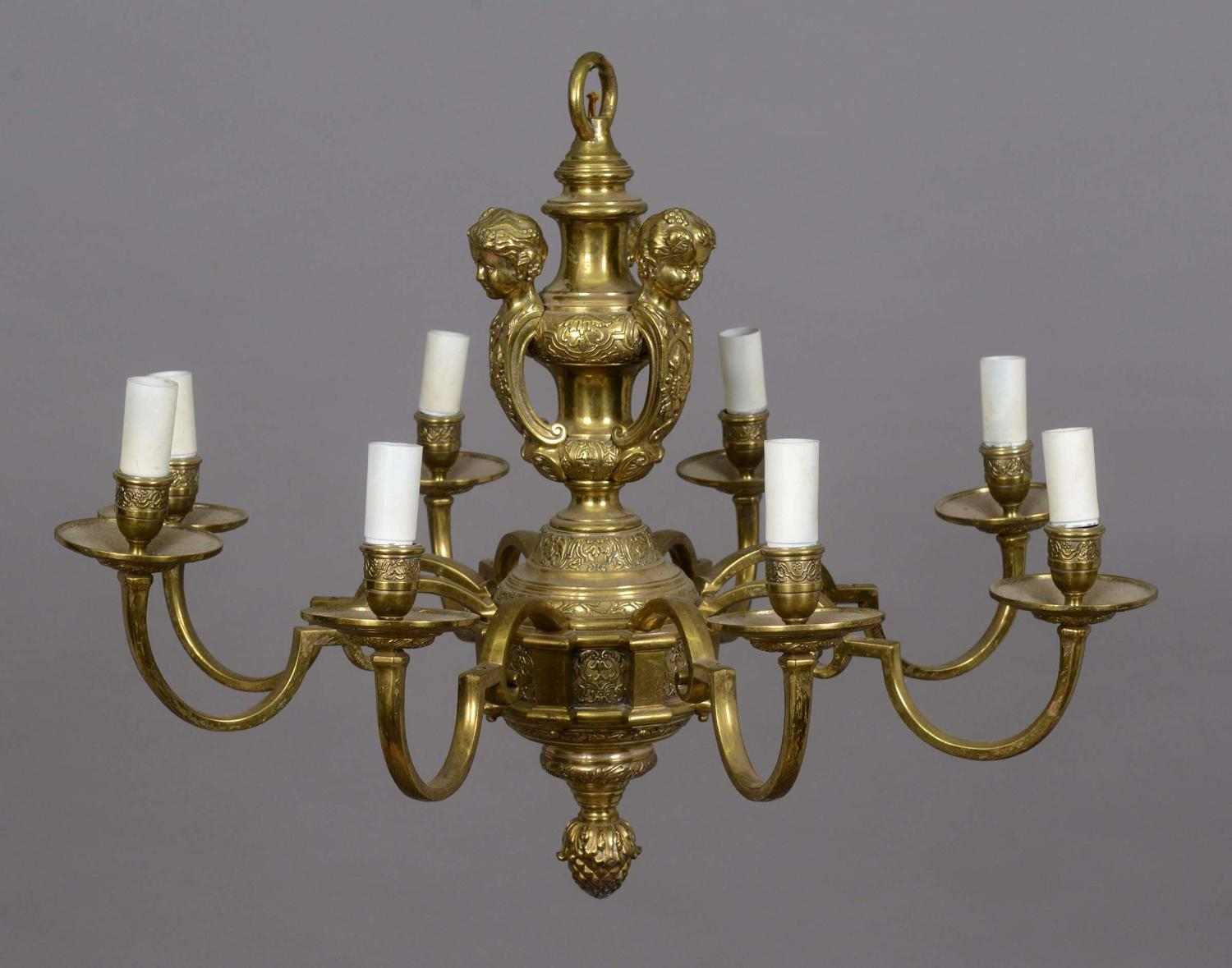 A pair of eight branch knole style chandeliers
