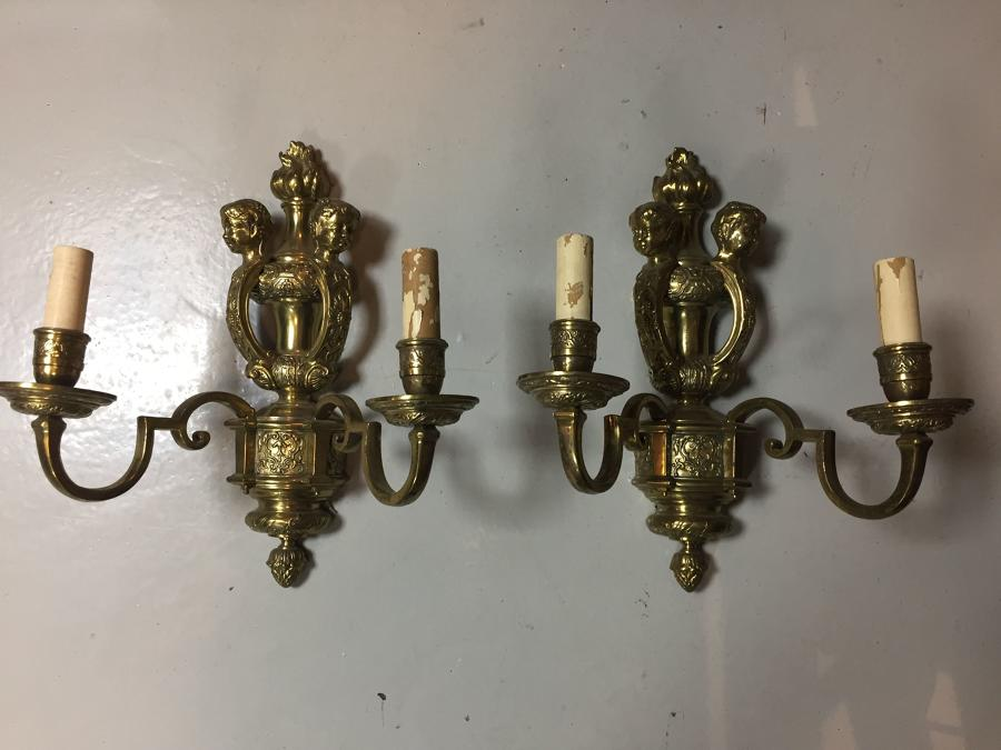 A pair of gilt-brass Knole style wall lights