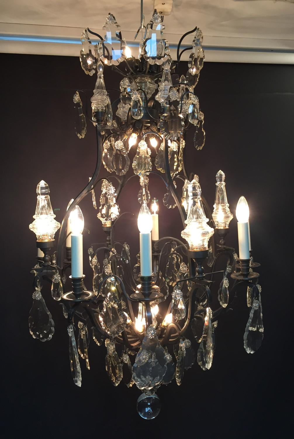 A bronze and crystal chandelier
