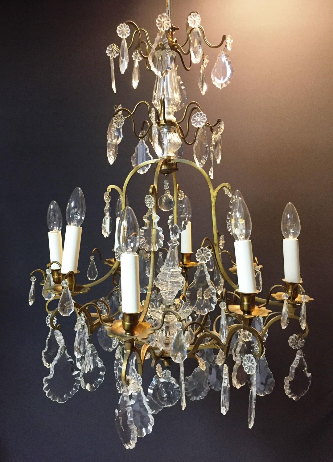A gilt-brass and crystal chandelier