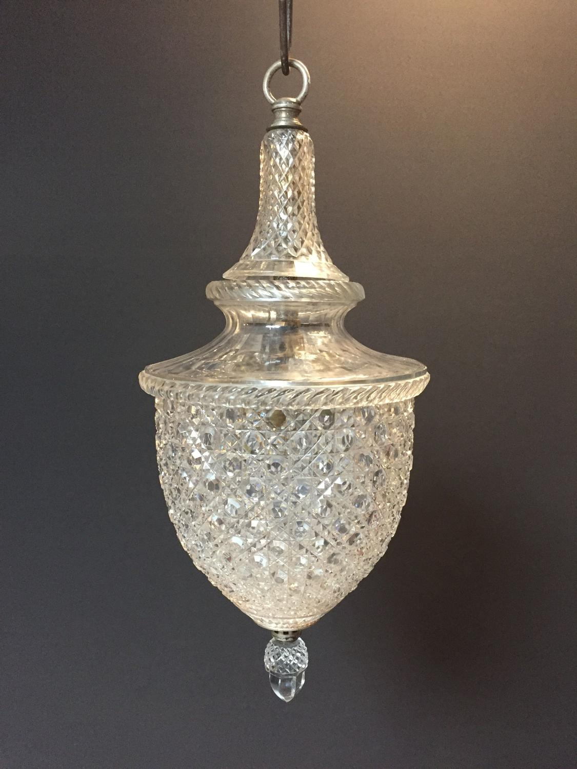 A hobnail cut glass hanging lantern