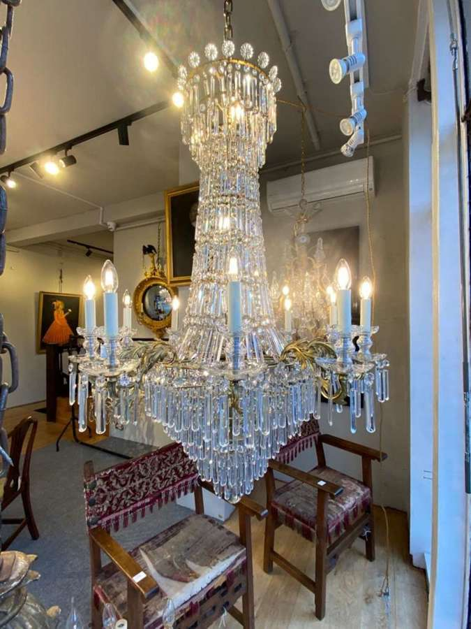 An early 19th century cut glass waterfall chandelier