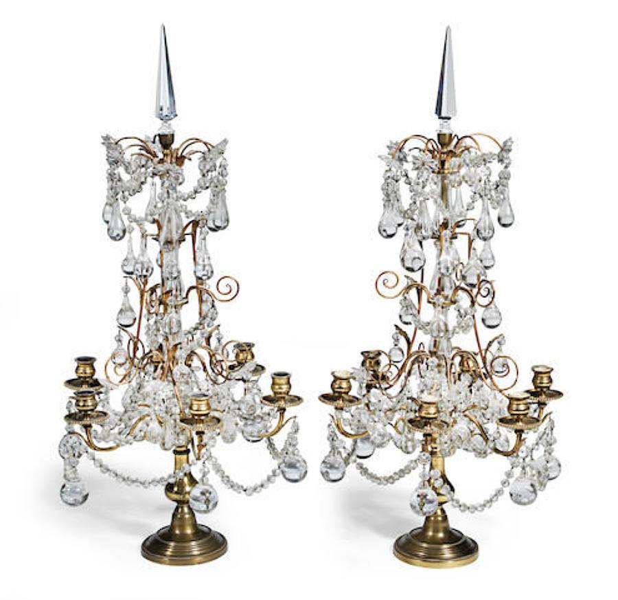 A pair of gilt-brass and cut glass girandoles