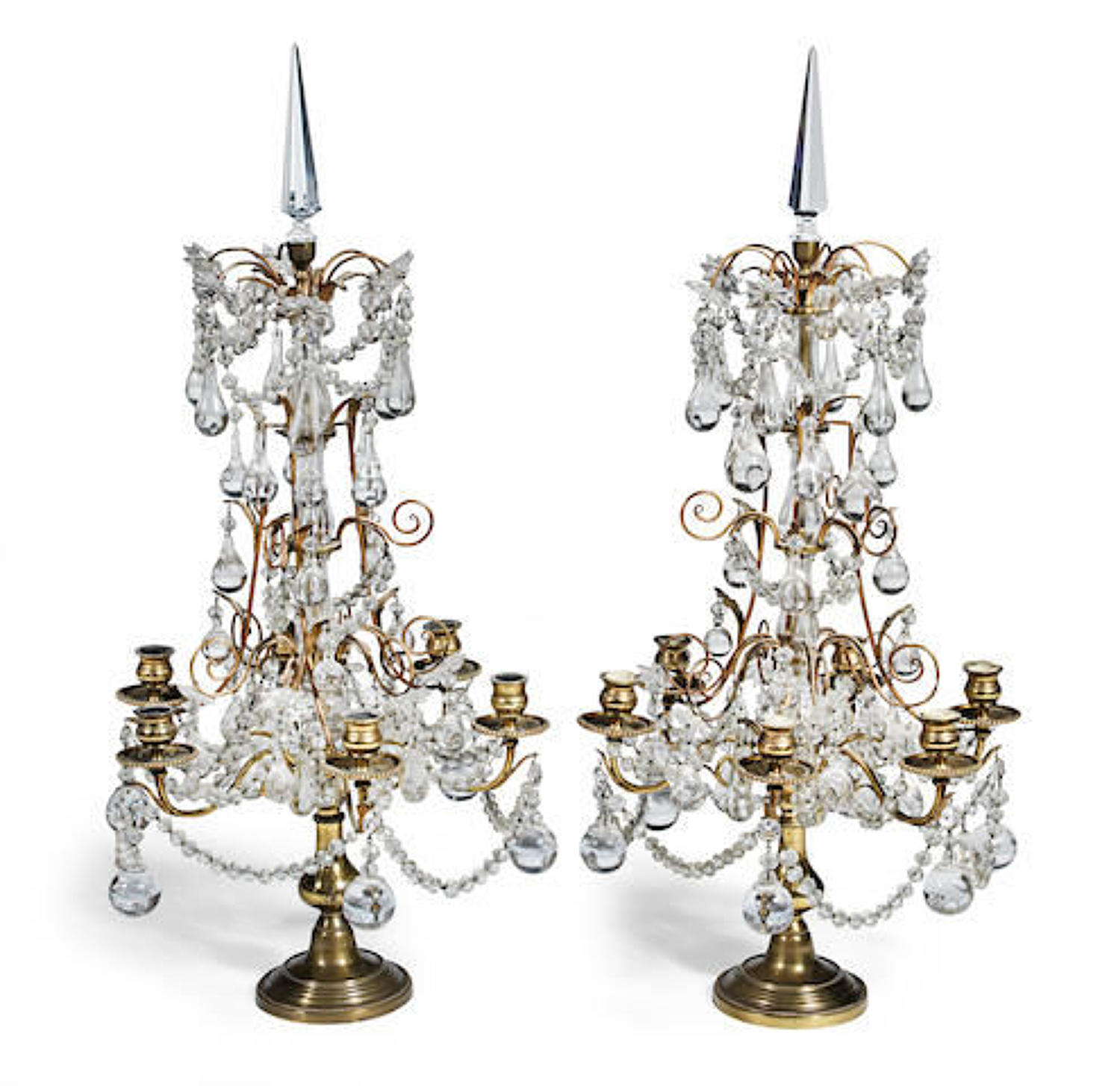 A pair of gilt-brass and cut glass girandoles